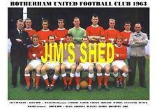 ROTHERHAM UNITED F.C.TEAM PRINT 1963 ( BENNETT / HOUGHTON / ASHE / IRONSIDE )