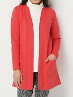 H-7 Isaac Mizrahi Live! Essentials Open Front Knit Cardigan TAMALE RED size S