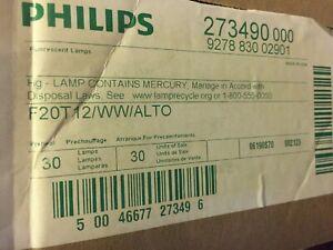 Box of 30 Philips F20T12 / WW / ALTO Fluorescent Tube Light Bulb Lamp Bipin Base