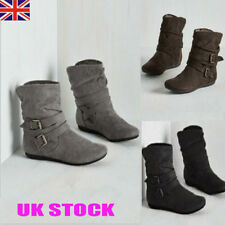 New Womens Winter Fur Warm Boots Ladies Casual Buckle Mid Calf Flat Boot Shoes