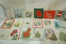 VINTAGE CHRISTMAS CARDS UNUSED LOT 18 1950s SNOWMEN FRONT DOOR ANGELS TREE 1i