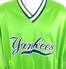 Vtg Satin Yankees Mens Pullover Jacket XL Genuine Retro Starter Neon Green Bold