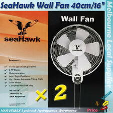 2x Seahawk Wall Mount Fan 40cm Quiet Oscillating Adjustable 3 Speed Air Cooler