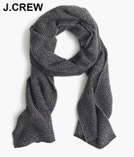 New J.CREW wool scarf grey black bird's eye pattern birds muffler wrap nr NWT