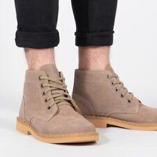 Mens Suede Desert Boots Lace Up (Beige/ Black/Brown)
