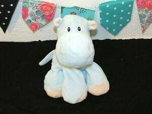 "Toys R Us Blue Hippopotamus Pink Feet Hippo 2013 Bean Bag Plush Stuffed Toy 8"""