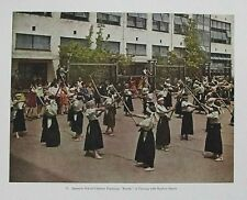 KENDO CLASS w SHINAI: OLD 1936 VINTAGE JAPANESE PHOTOGRAPH / PHOTOLITH of Japan