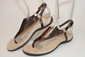 Vionic Kirra Metallic Womens 5 36 Leather Slingback Thongs T-Strap Sandals Shoes