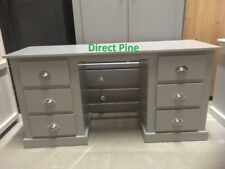 AYLESBURY 6 DRAWER DOUBLE DRESSING TABLE GREY WITH CHROME CUP HANDLES