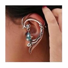 SNAKE in the grass EAR CUFF - WRAP EARRING with Aqua Crystal Dropper