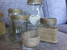 50 Glass Jars Vintage Wedding Centrepiece Tea Light Holders Vases Mixed Hessian