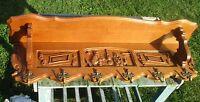 Vintage Carved Wood Wall Rack Shelf Coat Hooks Mirror Mid Century Modernist