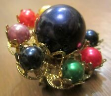 Purple Blue Red Green Yellow Fake Pearl Gold Clad Medallion Lapel Pin Brooch