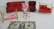 DOLLHOUSE BRASS METAL FURNITURE HIGHCHAIR, DAYBED & CRIB, WOODEN COUCH & CHAIR