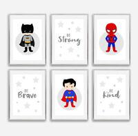 Superhero Grey Star Quote Prints Childrens Boys Bedroom Nursery Decor Pictures