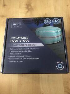 Charles Bentley Indoor & Outdoor Inflatable Foot Stool Candy Stripe Design H23cm