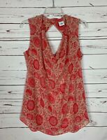 CAbi Vita Pink Coral Sleeveless Draped Floral Blouse Top Shirt Women's S Small
