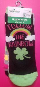 St Patricks Day Women's low cut socks 3 Pack Rainbow Shamrock