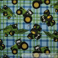 BonEful FABRIC FQ Cotton Quilt Blue Green Plaid John Deere Tractor Boy Farm Sale