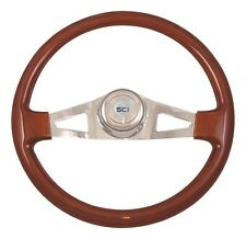 "2 Spoke 18"" Mahogany Steering Wheel 3-Hole for Freightliner, Peterbilt, KW+"