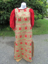 Vintage Womens Asian Oriental Dress Red Tapestry Red Gold Green Halloween