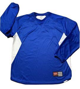 Rawlings Mens Baseball Long Sleeve Shirt Jersey Blue White Size XL
