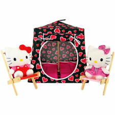 Black, sparkling heart print Toy Play Pop Up Tent, 2 Sleeping Bags, handmade