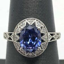 Sterling Silver 925 Elevated Oval Blue Iolite CZ Accent Openwork Cocktails Ring