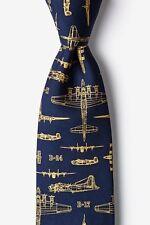 Alynn 100% Silk Blue WWII Bomber Airplane Aviation Military Jets Necktie Tie