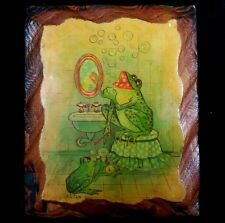 Friendly Vintage Bathroom Frog Family Handmade Cedar Wood Plaque Wall Hanging