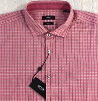 HUGO BOSS Men's L/S Shirt XXL 2XL Slim Fit NWT Melvin Red Checked $155 SHARP!