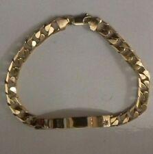 "VINTAGE 9ct Yellow Gold Identity ID Bracelet 8 1/2""/ 21.5cm Cubic Zirconia 17g"