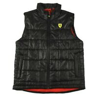 Ferrari Scuderia Vest Mens Sz S Black Red Logo Insulated Padded MINT JA