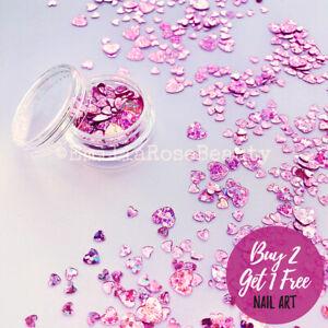 Nail Art Glitter Valentines Pink Violet Purple Shiny Love Hearts 3-6mm Flakes