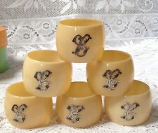 More details for antique six ivory colour celluloid napkin rings, silver scroll monogrammed