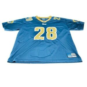 Marshall Faulk 28 St. Louis Rams Adidas Mens Jersey Short Sleeve Blue Logo XL