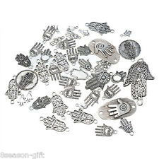 20PCs Dull Silver Tone Mixed Hand of Fatima Pendants Fashion Charm Jewelry