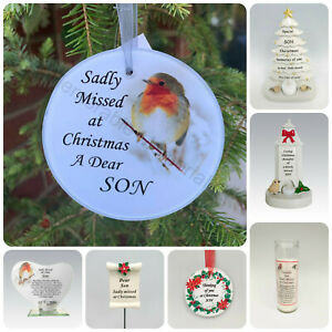 Son Christmas Memorial Tributes - Xmas Tree Robin Bauble Candle Book Plaque