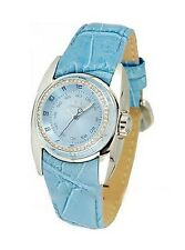 Chronotech Women's CT.7704LS/01 Crystals Light Blue Crocodile Leather Watch