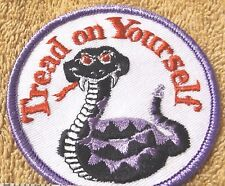 """VINTAGE PATCHES--""""TREAD ON YOURSELF"""" 3"""" PURPLE TRIM--PATCH--NEW--FREE SHIPPING"""