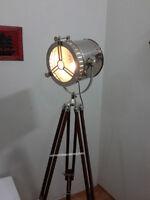 Retro Chrome Marine Nautical Spotlight Decorative Floor Lamp Wooden Tripod light