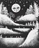 8x10 PRINT OF PAINTING RYTA XMAS CAT ANGEL ABSTRACT FOLK ART SNOWMAN LANDSCAPE