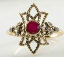 DIVINE 9K GOLD VINTAGE INS RUBY OPAL DIAMOND RING
