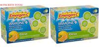 2 Emergen-C Energy Drink Mix Immune Plus Vitamin D Fizzy Orange Citrus 60 Packet