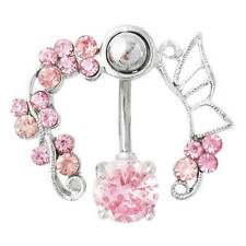 Pink Rhinestone Dangle Flower Belly Ring Navel Studs Body Piercing Jewelry