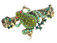 Gold Shimmery Green Crystal Rhinestone Pond Frog Toad Bracelet Bangle Chic Cuff