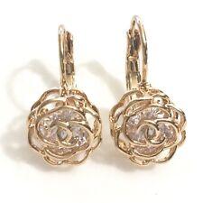 Handmade Carved Diamond Flower Earrings Yellow Gold Plated Wedding Jewelry E211