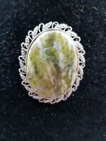 Vintage 1960s Oval Natural Moss Agate brooch