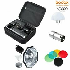 Godox AD200 Pocket Flash Double Head + Softbox + Color Filters + Diffuser Kit
