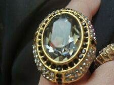 """AKKAD """"THIS EMPRESS ROCKS"""" CRYSTAL RING SIZE 10 HSN NEW  GOLD TONE"""